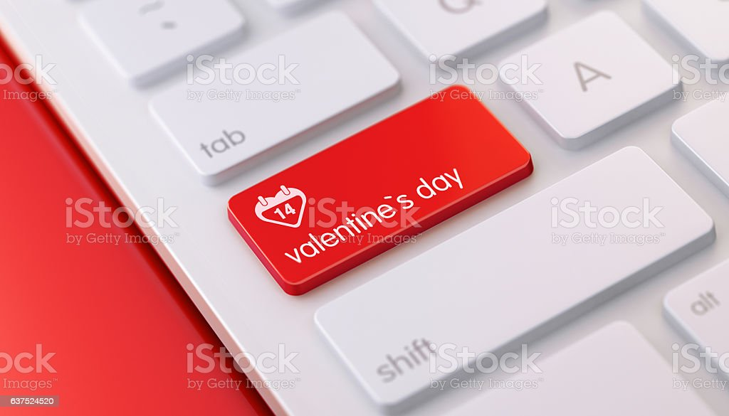 Modern Keyboard wih Red Valentine`s Day Button stock photo