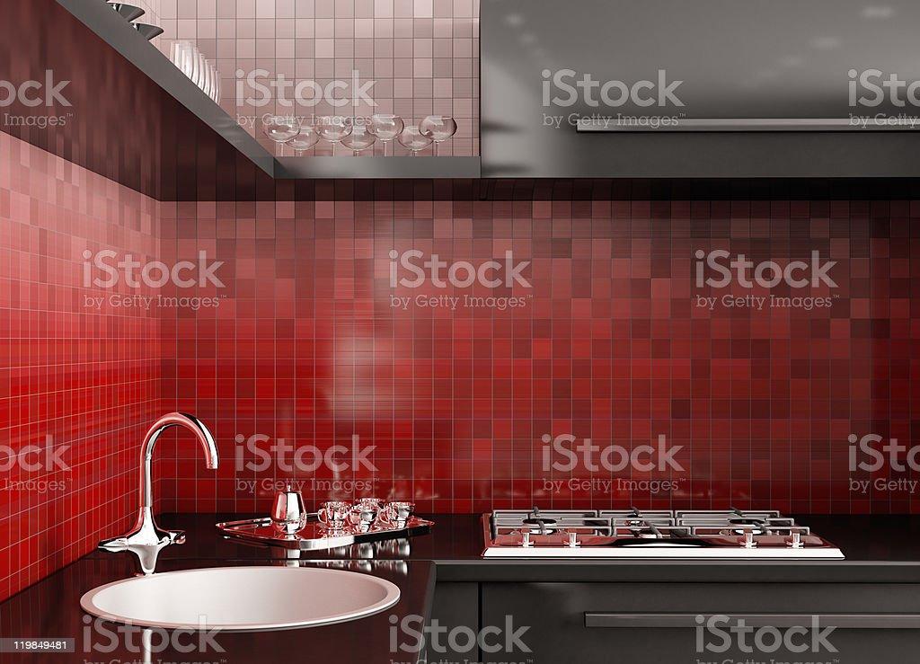 Modern kitchen 3d render stock photo