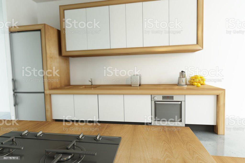 Modern kitchen angle stock photo
