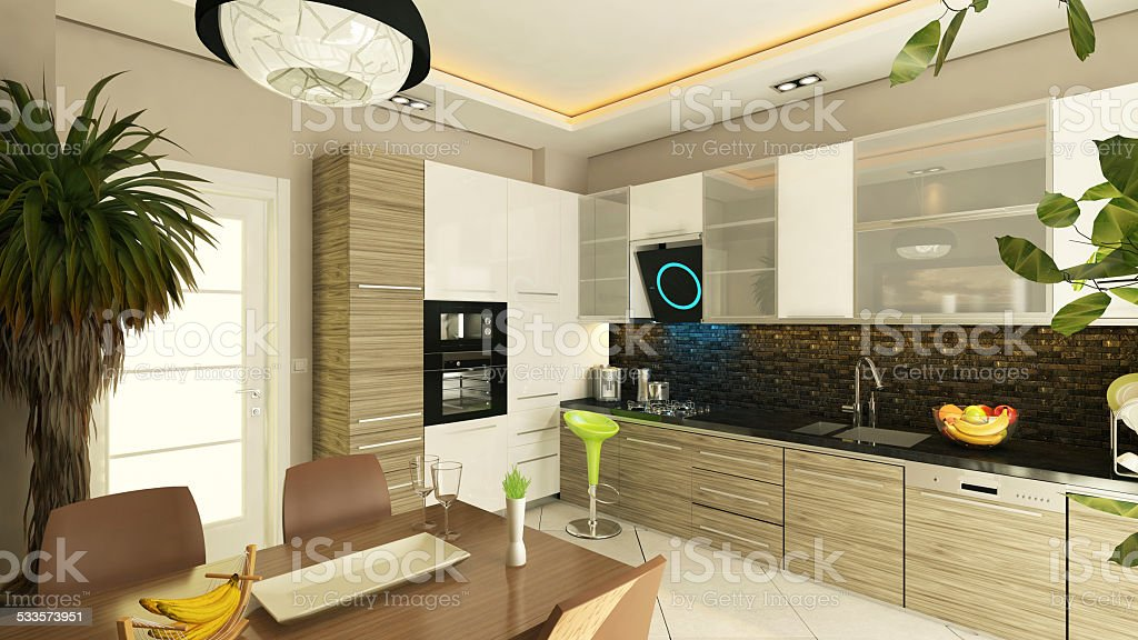 modern kitchen design stock photo