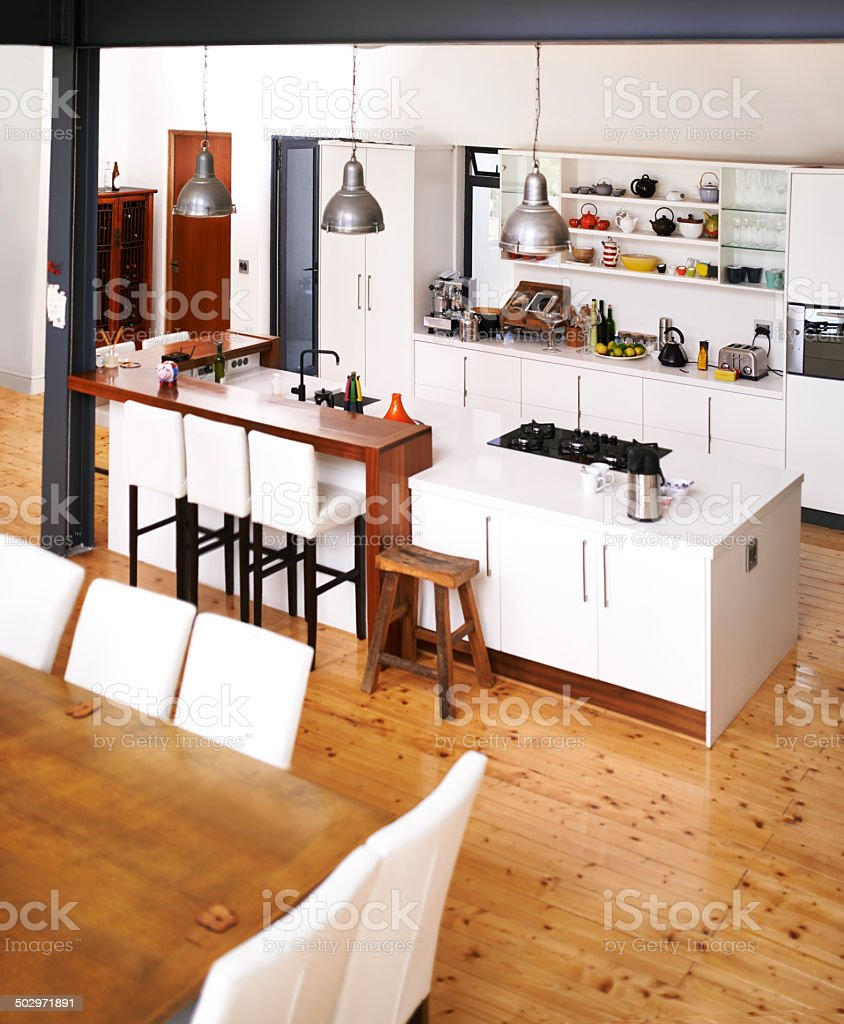 Modern kitchen for modern living stock photo