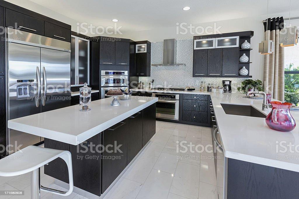 Modern kitchen house interior stock photo