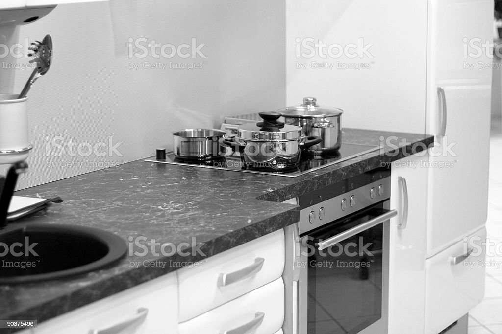 Modern kitchen in black and white royalty-free stock photo