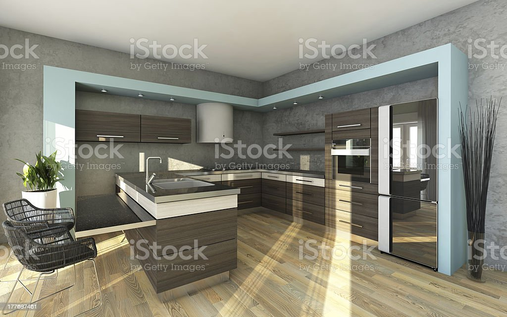 Modern Kitchen In Grey Colours royalty-free stock photo