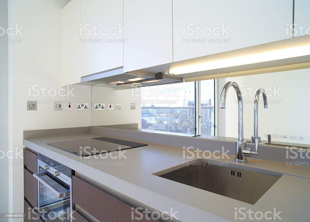 Modern kitchen in luxury apartment royalty-free stock photo