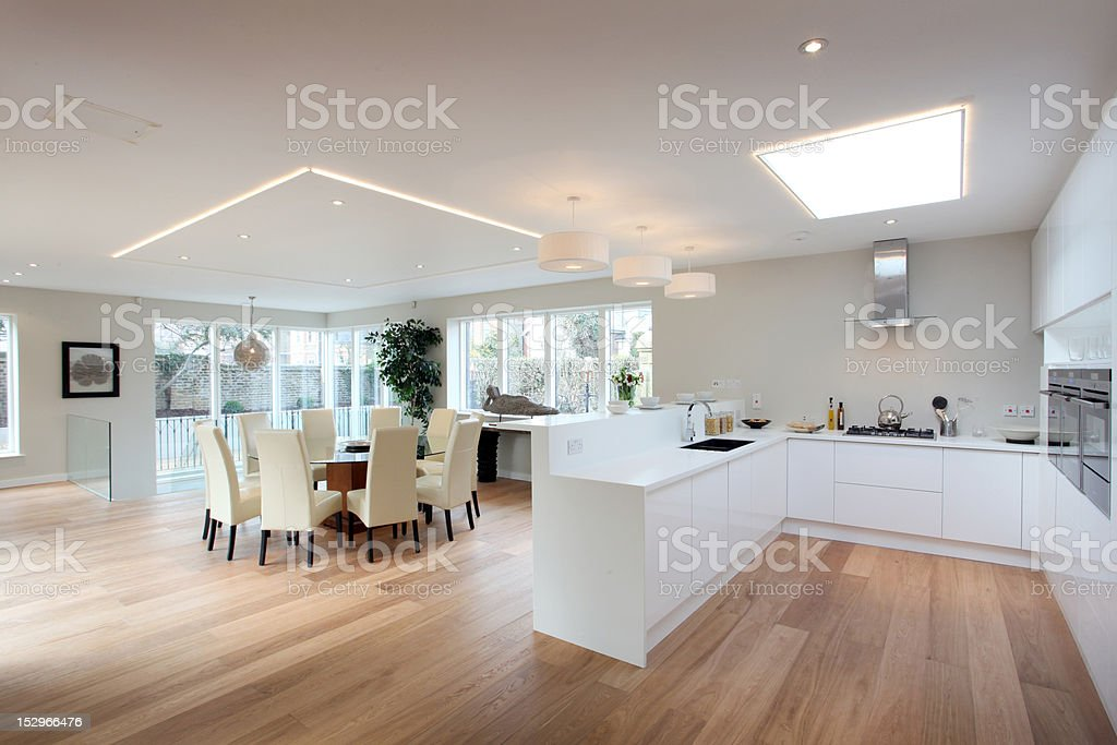 Modern kitchen in white with a hardwood floor stock photo