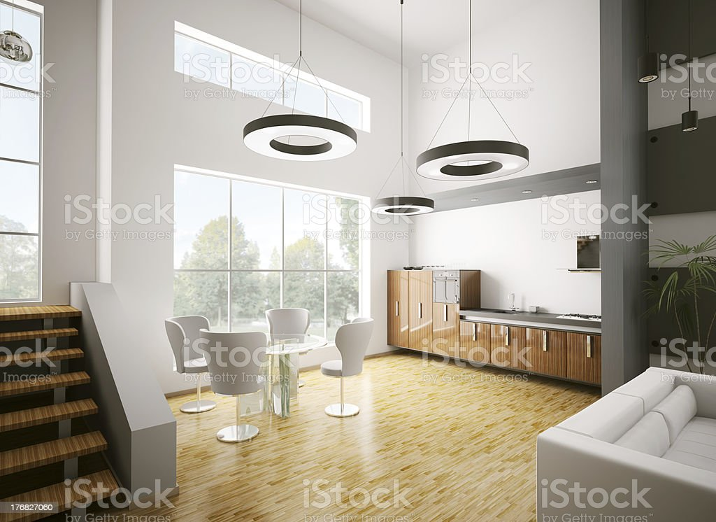 Modern kitchen interior 3d royalty-free stock photo