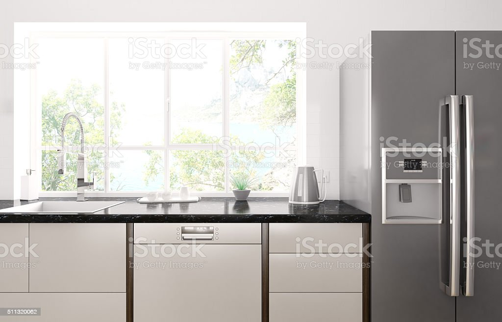 Modern kitchen interior 3d render stock photo