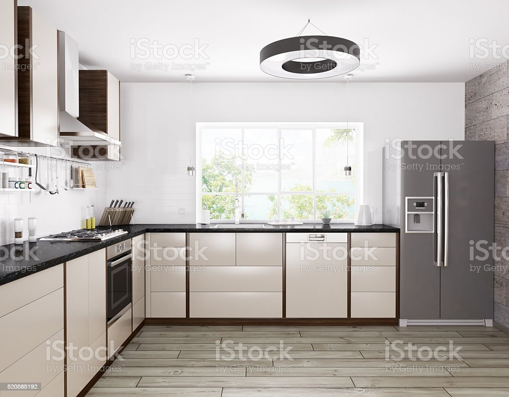 Modern kitchen interior 3d rendering stock photo