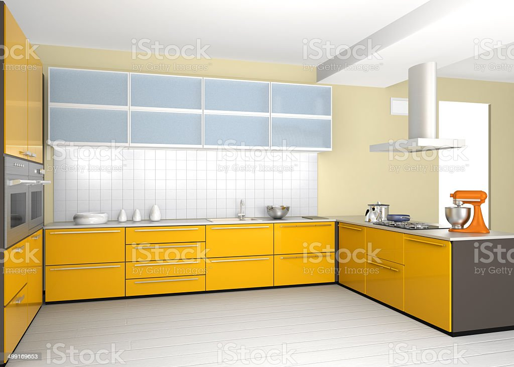 Modern kitchen interior design in yellow color coordinate royalty-free stock photo