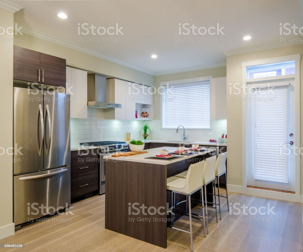 Modern kitchen interior design. stock photo