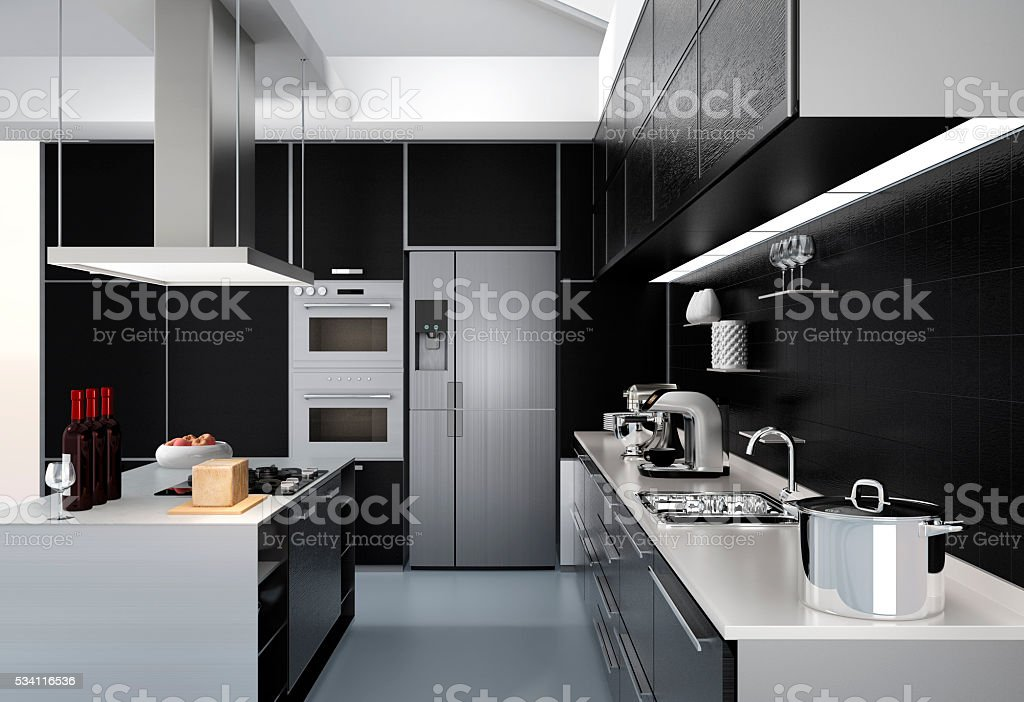 Modern kitchen interior with smart appliances in black color coordination stock photo