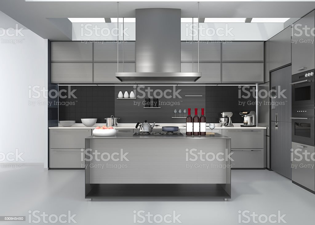 Modern kitchen interior with smart appliances in silver color coordination stock photo