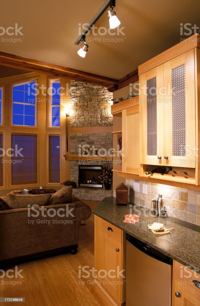 modern kitchen living room home interior royalty-free stock photo