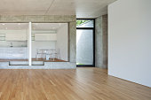 modern kitchen of concrete apartment