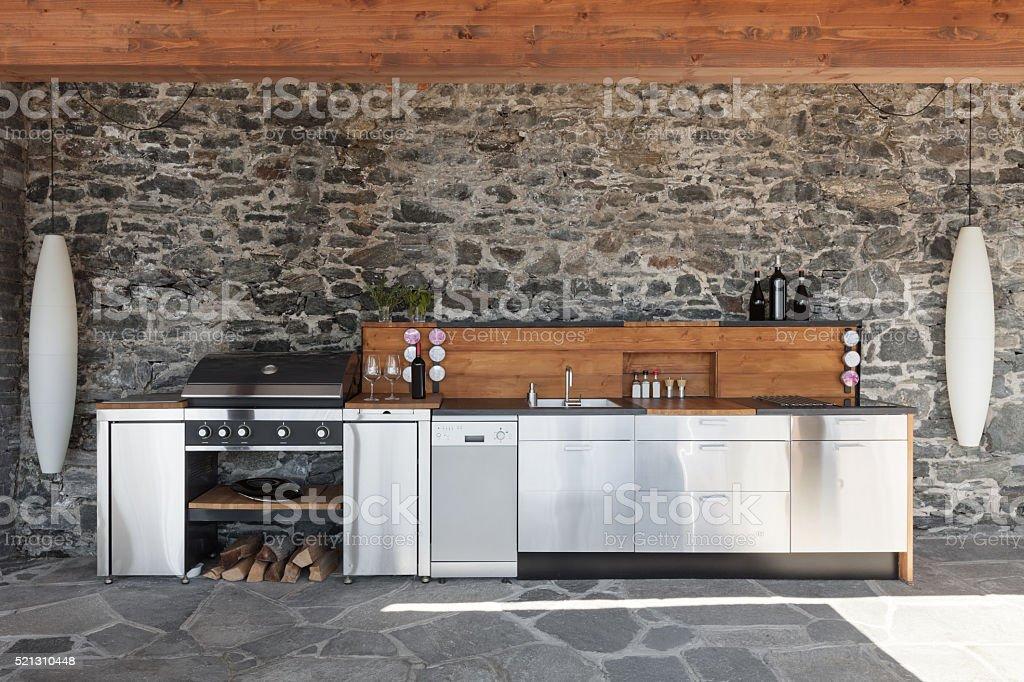 Modern kitchen, outdoor stock photo