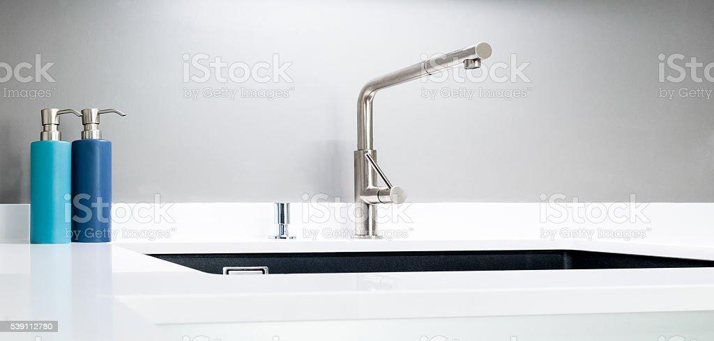 Modern kitchen sink stock photo