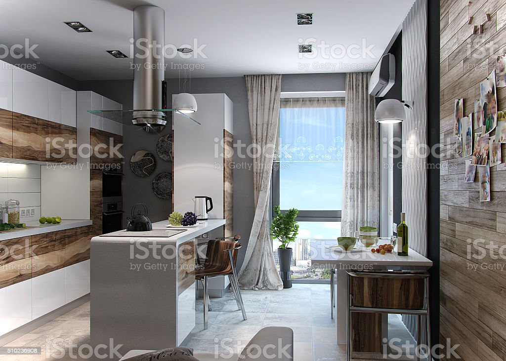 Modern kitchen study, 3d render stock photo