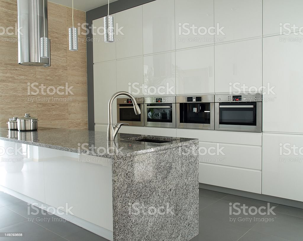 Modern kitchen with granite countertop royalty-free stock photo