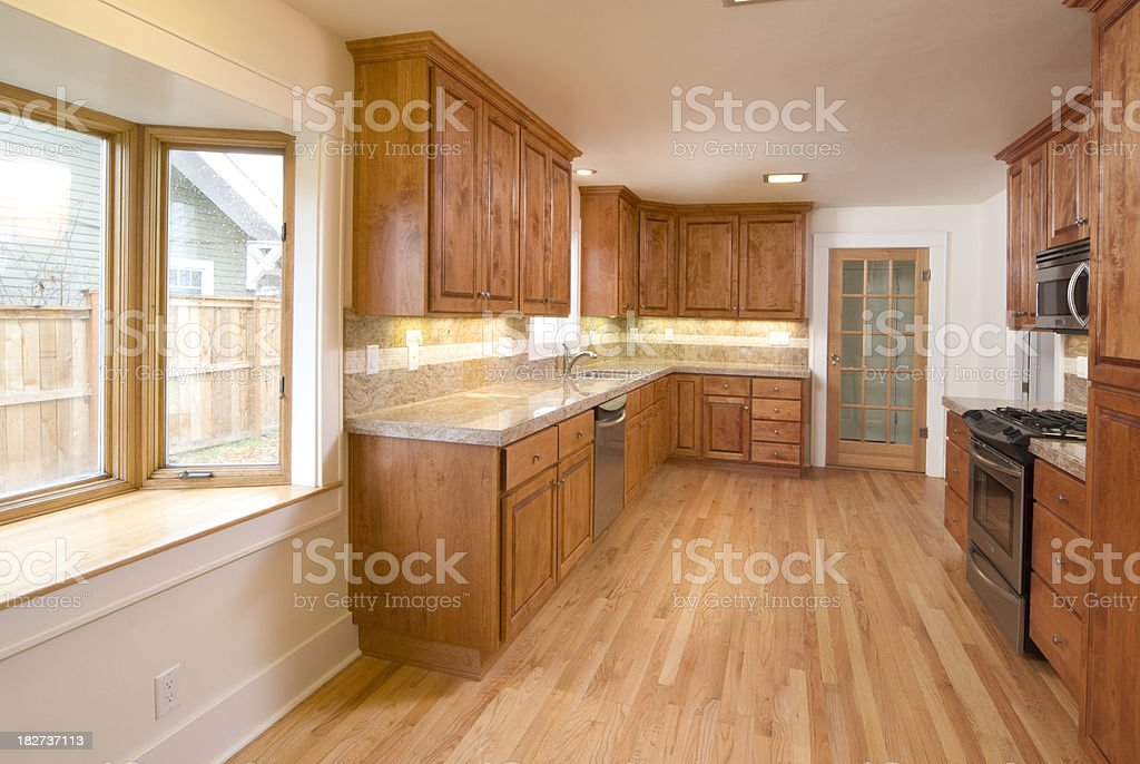Modern kitchen with hardwood cabinets and floor royalty-free stock photo