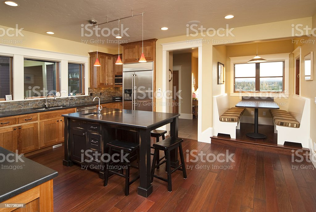 Modern kitchen with hardwood floors royalty-free stock photo