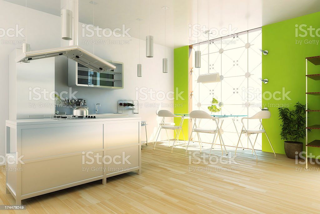 Modern kitchen with white and lime green walls royalty-free stock photo