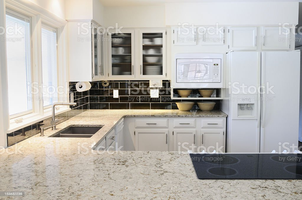 A modern kitchen with white cabinets and countertop stock photo