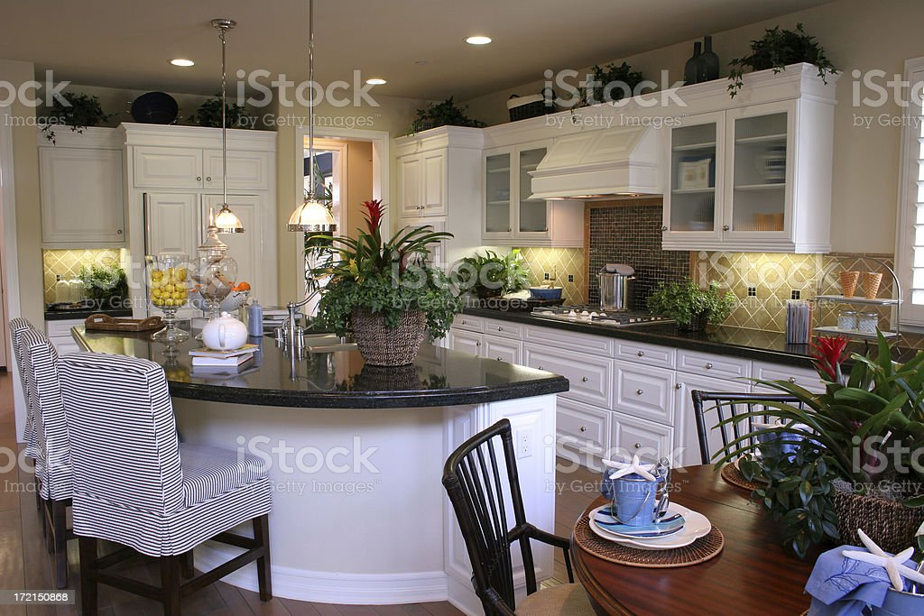 Modern kitchen with white cabinets royalty-free stock photo