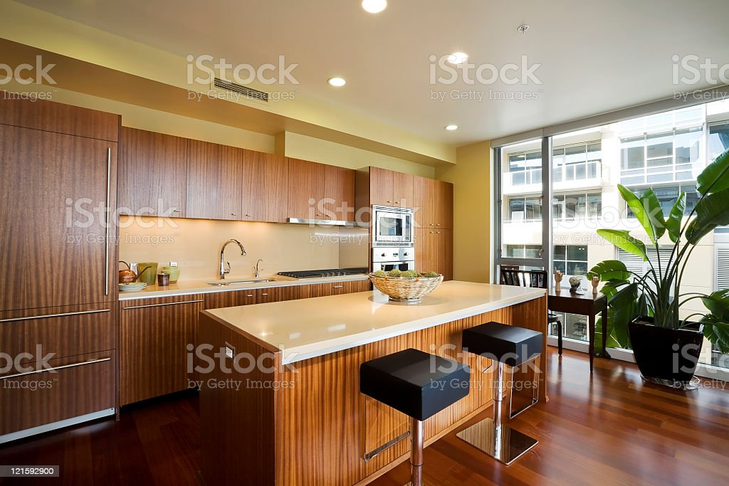 Modern kitchen with wood cabinetry stock photo