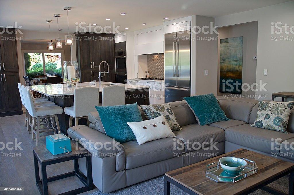 Modern Kitchen,Family Room stock photo