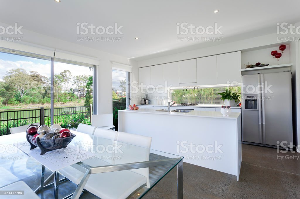 Modern kithchen and dining room royalty-free stock photo