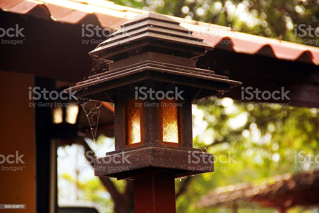 Modern lamp Carried on terrace stock photo
