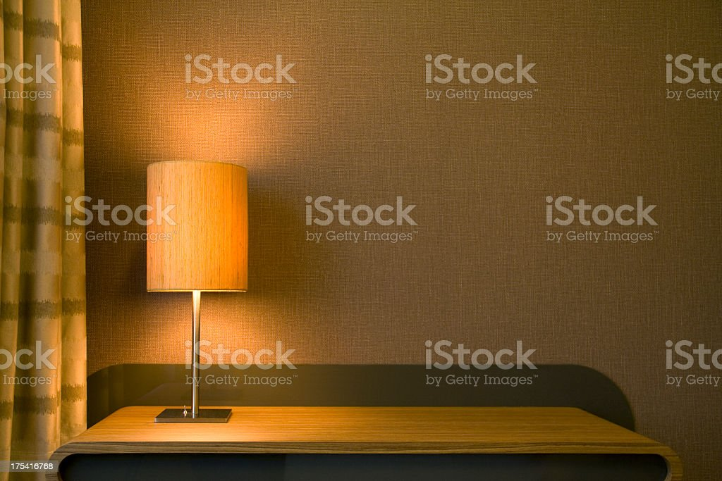 Modern lamp on side table stock photo