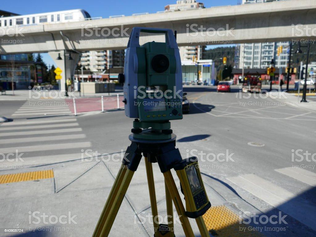 Modern Land Surveying Instrument stock photo