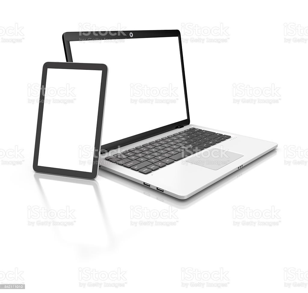 Modern Laptop and tablet isolated on white. royalty-free stock photo