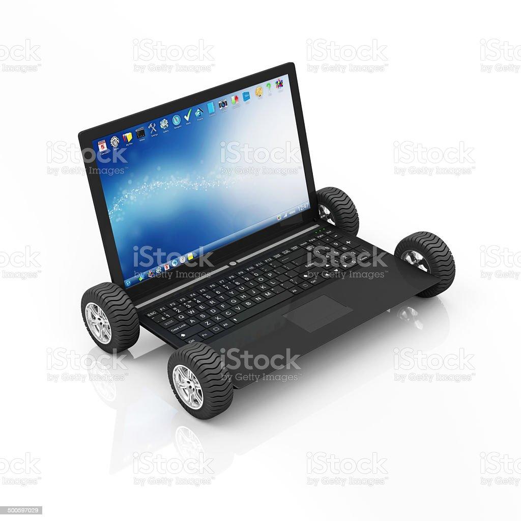 Modern Laptop on Wheels isolated on white background stock photo