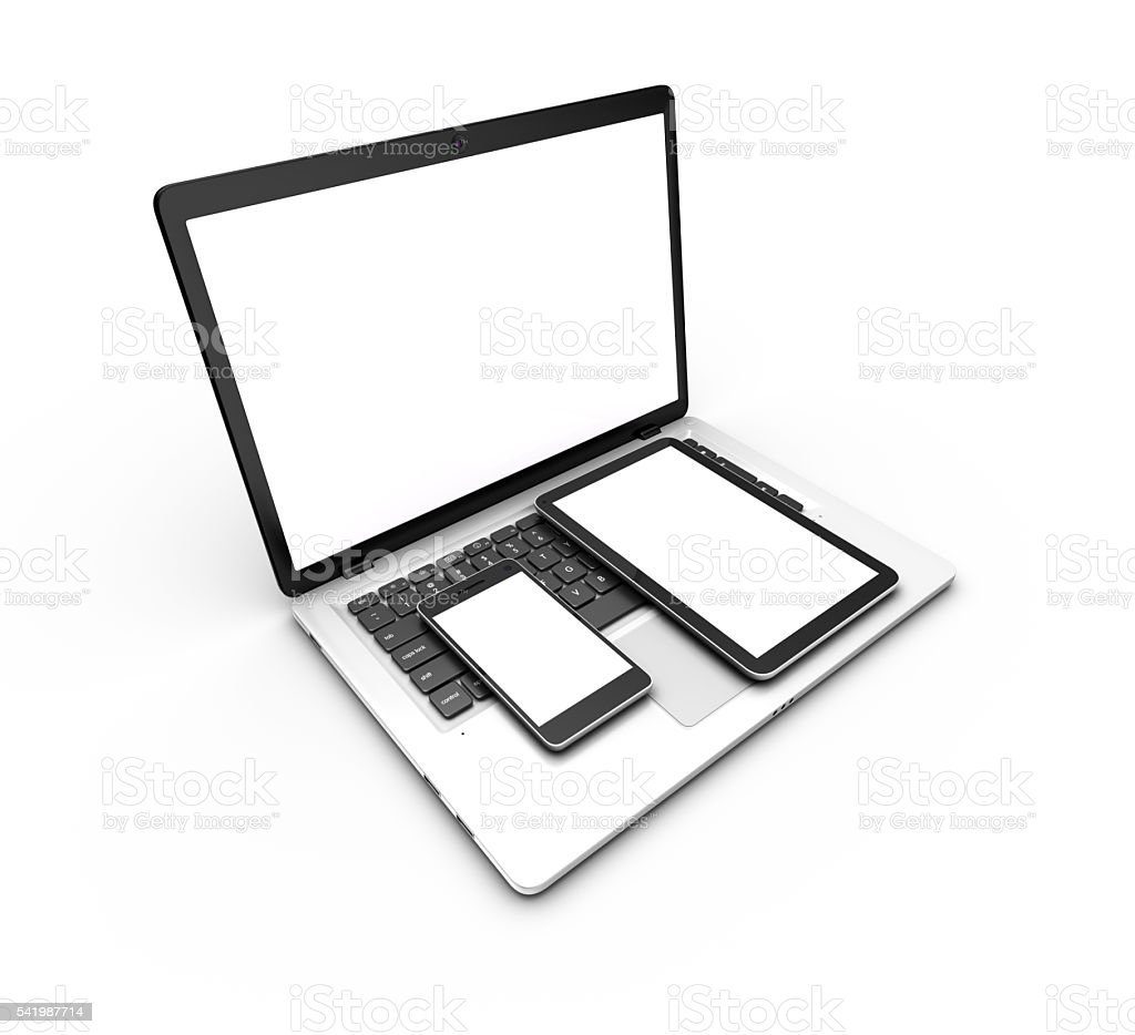Modern laptop, tablet and smartphone isolated on white. 3d rendering. royalty-free stock photo