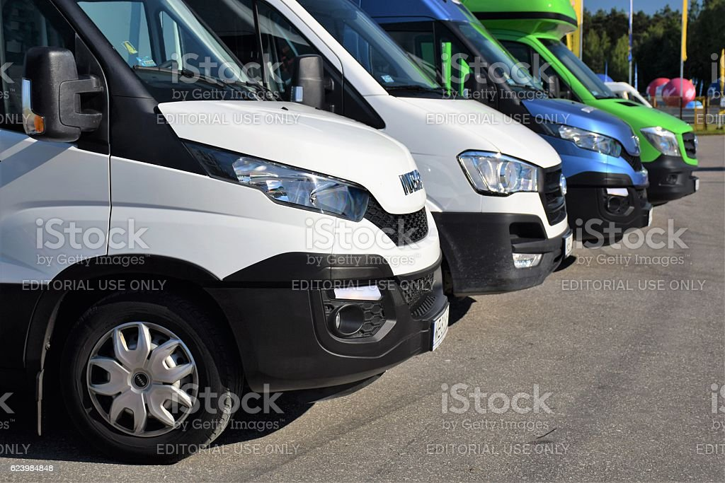 Modern LCV vehicles on the parking stock photo