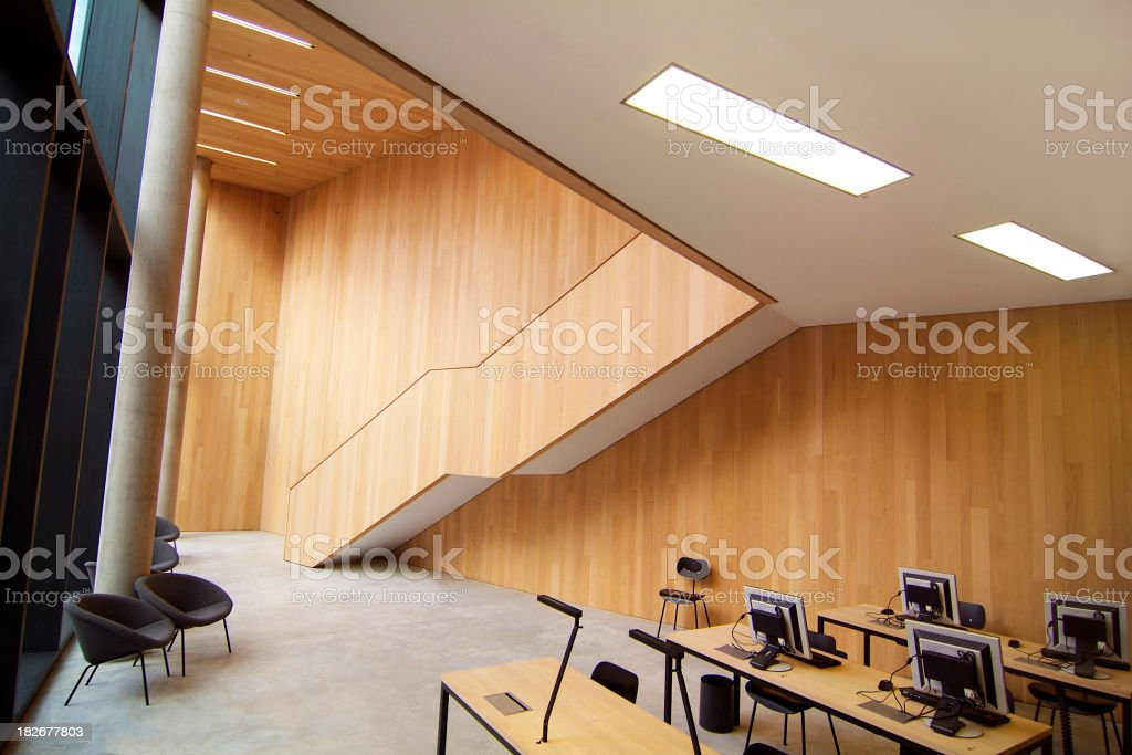 modern library with computers royalty-free stock photo