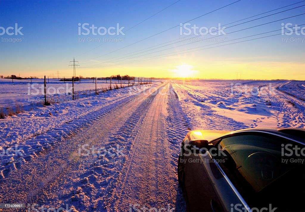Modern life in Winter countryside stock photo