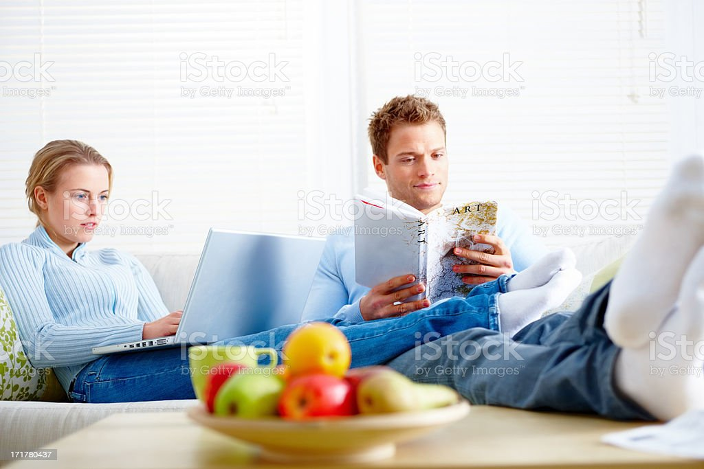 Modern life - Young couple spending time together stock photo
