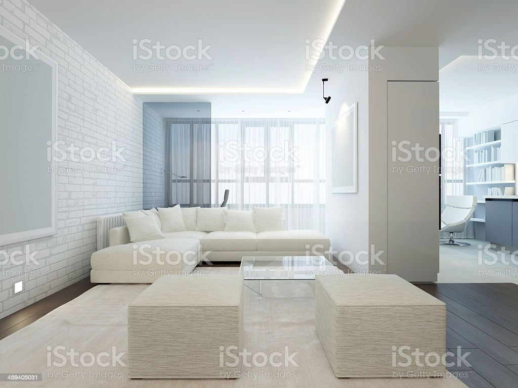 Modern living area with white interior  stock photo