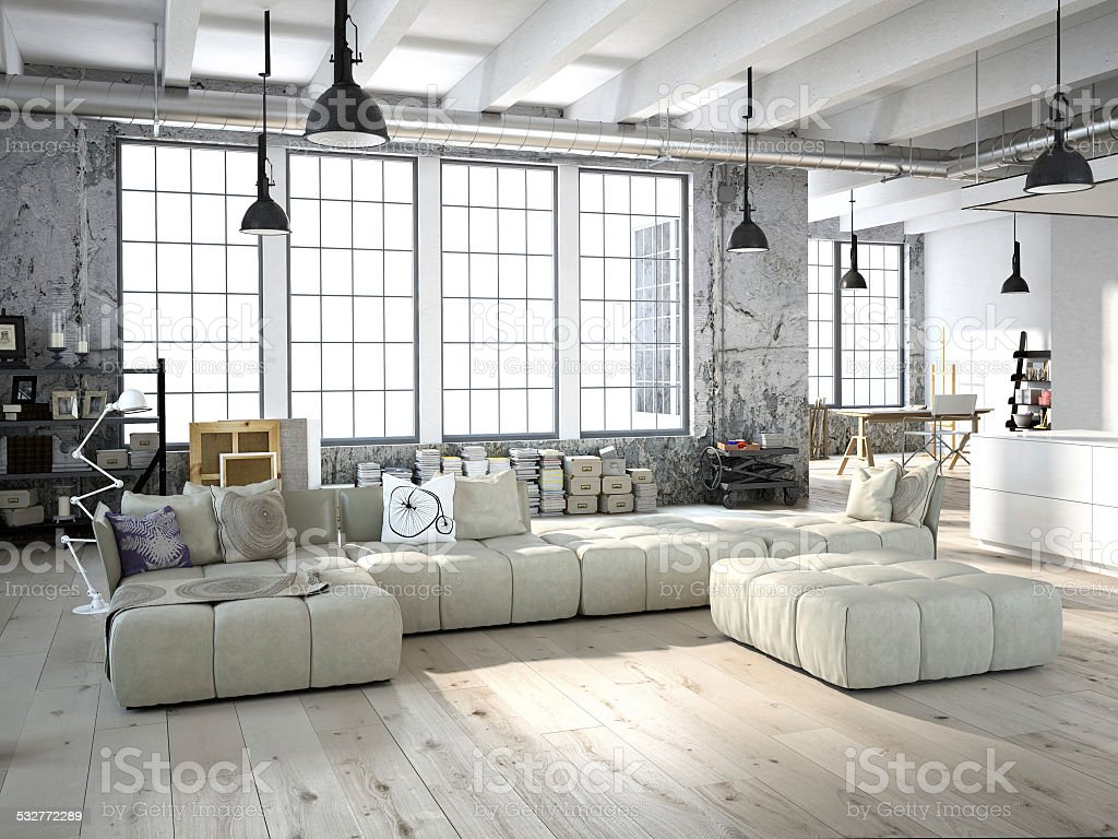 modern living room. 3d rendering stock photo
