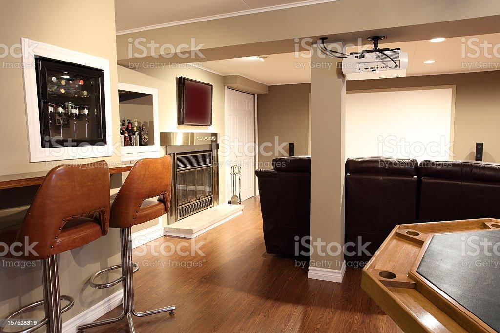 Modern Living Room and Home Cinema stock photo