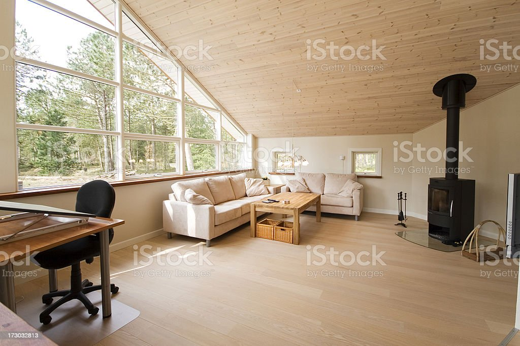 Modern living room and office. stock photo
