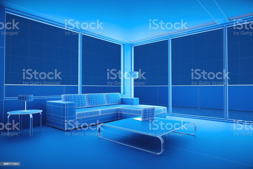 Modern Living Room Blueprint stock photo