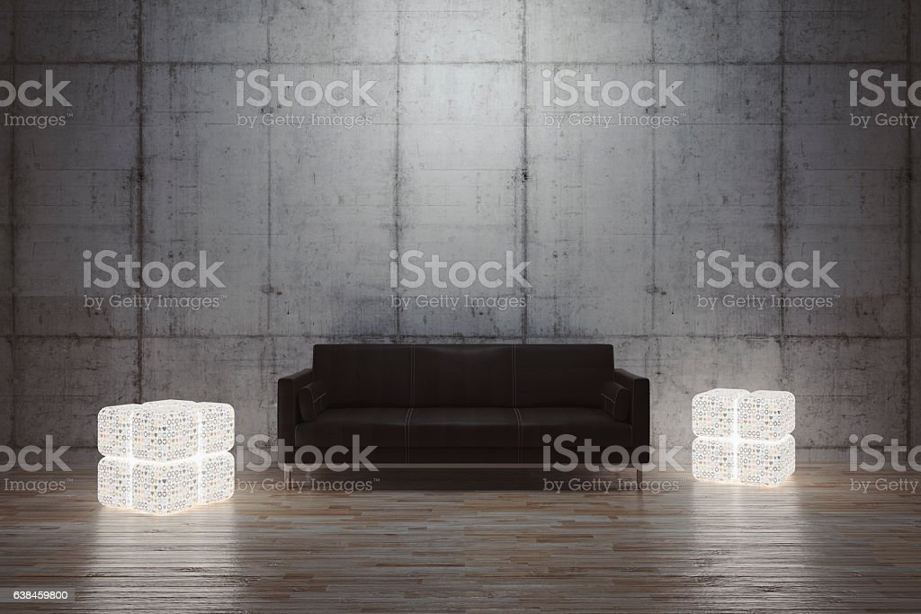 Modern living room, concrete walls, leather sofa stock photo