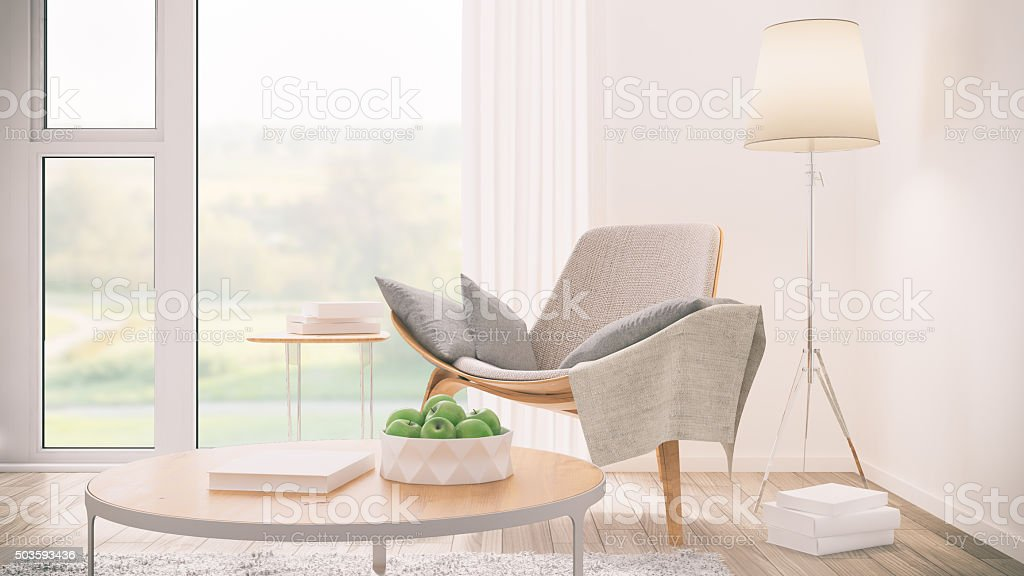 Modern living room detail stock photo