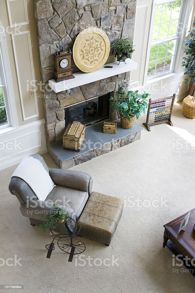 Modern Living Room Fireplace Home Suburbia royalty-free stock photo