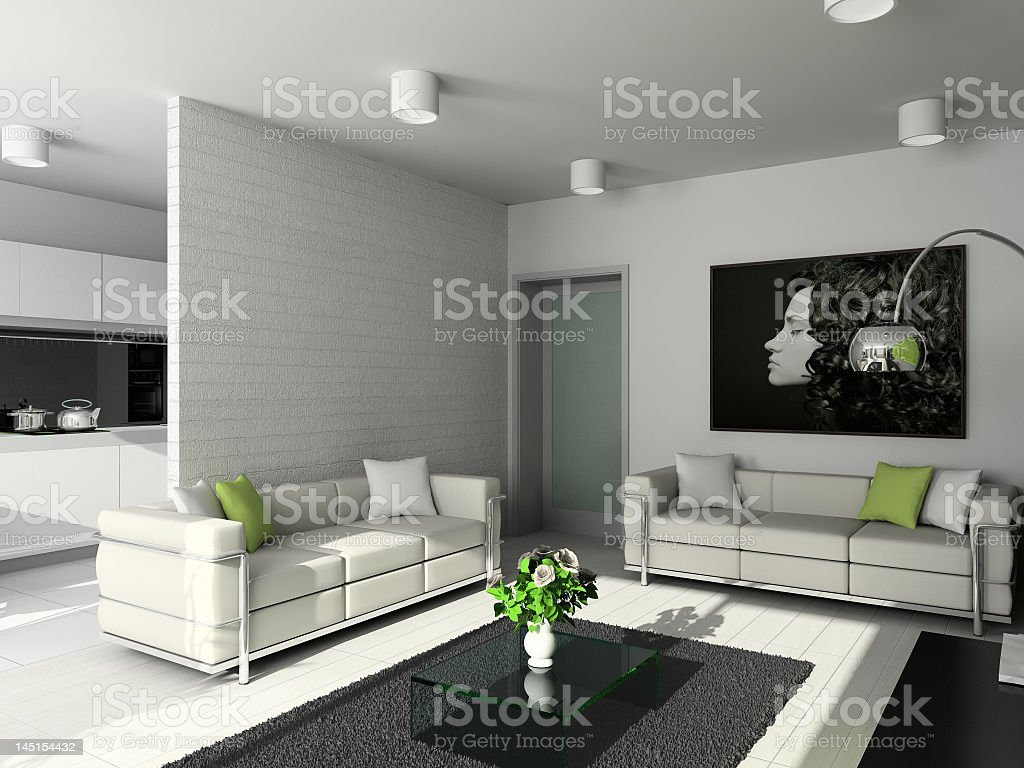 Modern living room in white and green accents royalty-free stock photo